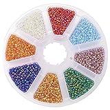 PandaHall Elite- 1 boite Perles de rocaille verre, perles spacer,couleur melangee,2mm de diametre,trou: 0.6mm