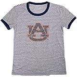 Blue 84 NCAA Auburn Tigers Women's Tri-Blend Retro Stripe Ringer Shirt, Large, Navy