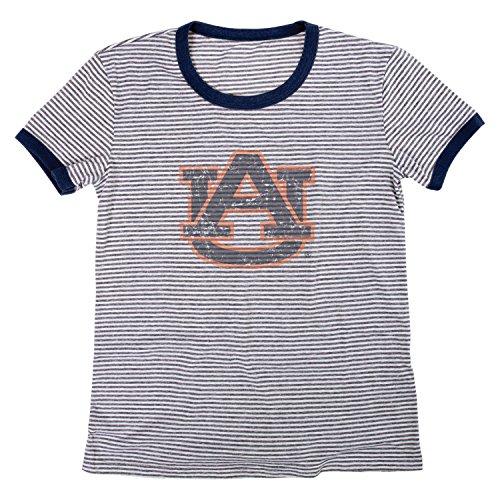 Auburn Damen T-shirt (Blue 84 NCAA Auburn Tigers Damen Tri-Blend Retro Stripe Ringer Shirt, Large, Marineblau)