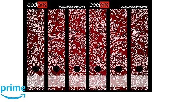 Set 10 St/ück Ordner-Etiketten selbstklebend Ordnerr/ücken Sticker Florale Ornamente rot