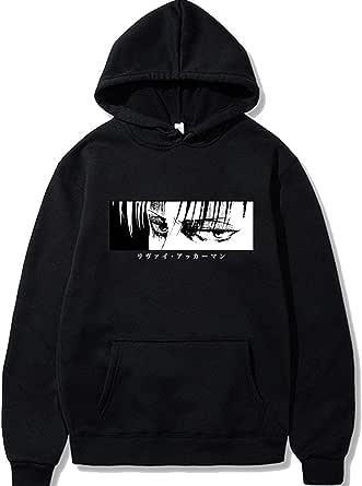 Elibeauty Unisex Attack on Titan Hoodie Sweatshirt Anime Leewell Pattern Pullover Sweater with Pocket