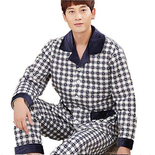 GJX@ Pigiama cotone uomo pigiama autunno e inverno cotone a