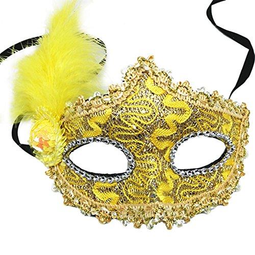 Daliuing Damen Lady Maskerade Ball Maske Pailletten Prinzessin Venezianische Spitze Halloween Maske Gesichtszubehör für Kostüm Karneval Party 20 * 25CM gelb