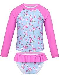 d5394fc08 MSemis Traje de Baño para Niñas 2 Piezas Camisa Bañador y Braguita  Estampado Flamencos Protección Solar