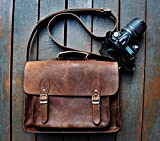 FeatherTouch Borsa per fotocamera in vera pelle, colore: marrone, 38 x 25 x 15 cm - FeatherTouch - amazon.it