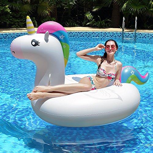 Innoo Tech Aufblasbares Einhorn Luftmatratze Schwimmbecken | 2018 Sommer Sicheres Material | Riesen Strand Spielzeug Liege für Party Erwachsene Frauen Kinder | 83 x 43 x 45 Zoll