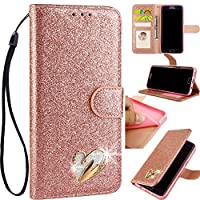 6City8Ni Purse Slim Bookstyle Brilliant Diamond Liquid Loves Sparkly Bling Glitter Flip Wallet Leather Stand Kickstand Function Magnetic Switch Closure Card Slots Compatible with Huawei P30