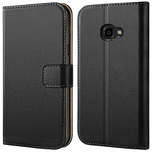 Galaxy Xcover 4 Hülle, HOOMIL Handyhülle Premium Leder Tasche Flip Case Schutzhülle für Samsung Galaxy Xcover 4 - Schwarz (H3167)