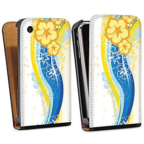 Apple iPhone 4 Housse Étui Silicone Coque Protection Fleurs Fleurs Printemps Sac Downflip noir