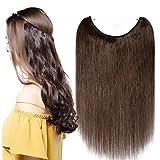 Extensions Echthaar mit Unsichtbarer Draht Mittelbraun - Haarverlängerungen Haarteile Glatt Haarverdichtung Keine Clip 20