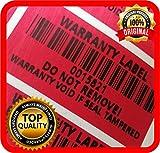 300 etichette Tamper Evident con numero di serie e codice a barre, rosso, 40 x 20 mm Warranty Label Seal ENGLISH TEXT