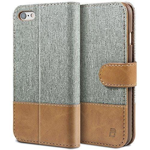 BEZ® Handyhülle iPhone 6, iPhone 6S Hülle, Handyhülle Kompatibel für iPhone 6 / 6S, Handytasche Schutzhülle Tasche Flip Case [Stoff BEZ®ug und PU leder] mit Kreditkartenhaltern - Grau
