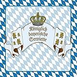 40x Lunch Servietten 33x33cm Königliches Bayern Blau Raute Oktoberfest Tischdeko Bierzelt Festzelt Feier Fest