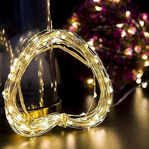 Loende weihnachtsbeleuchtung Lichterkette Batterie betrieben 100 LED 10.5M 4AA batterie (Nicht enthalten) warmweiß dimbare Kupferdraht wasserdicht Sternenlicht außen und innen mit 8 Betriebsarten, Dekorative Lichter für Weihnachten, Party, Hochzeit, Feste