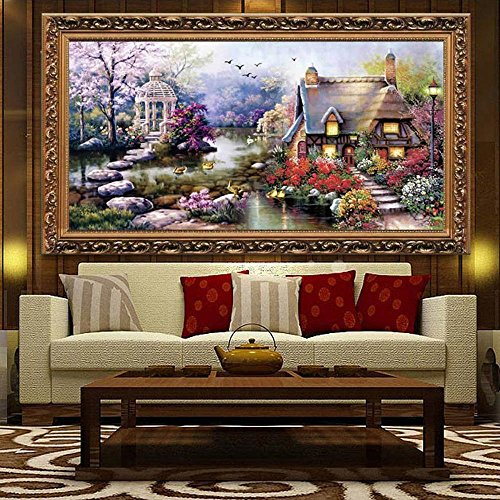 Decdeal DIY Handmade Needlework Cross Stitch Set Embroidery Kit Precise Printed Garden Cottage Design Cross-Stitching 64 * 37cm Home Decoration