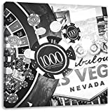 Pixxprint Las Vegas Casino Roulette Art B & W 70x70 cm Stampa su Tela Decorazione