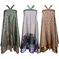 Womens Beach Boho Vintage Silk Sari Wrap Skirt, Dress Wholesale 3 Pcs Lot