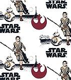 Star Wars Rey & BB-8 Baumwollstoff auf weißem