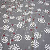 Stoff Baumwollstoff Blume grau weiß silber Eiskristall