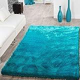 T&T Design Teppich Wohnzimmer Hochflor Teppiche Modern Elegant Weich Schimmer in Uni Türkis, Größe:120x170 cm