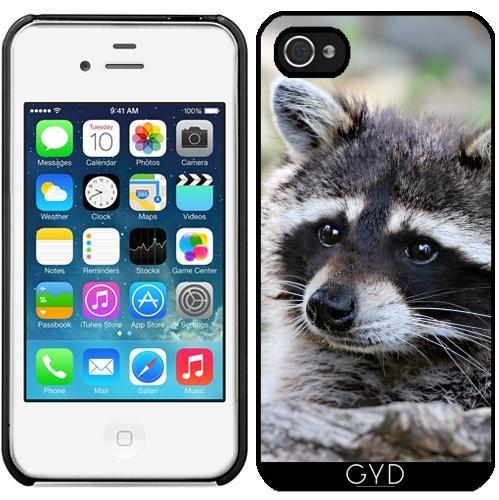 Leder Flip Case Tasche Hülle für Apple iPhone 5/5S - Wildes Tier Racoon Säugetier by Grab My Art Starre Kunststoff