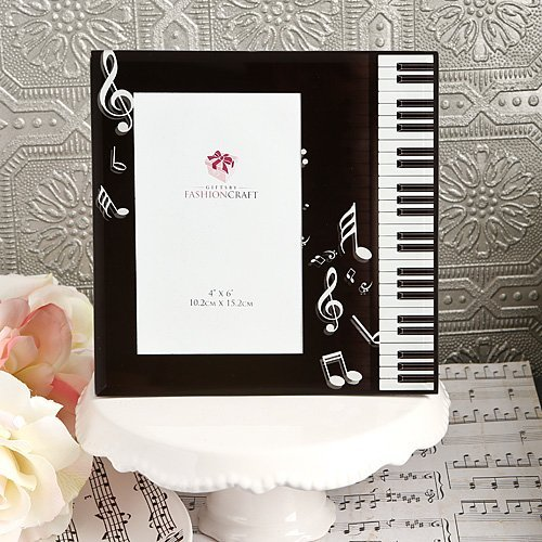 Fc Schwarz & Weiß abgeschrägte Glas Musik Thema Bilderrahmen-Piano Tastatur-Noten-G Notenschlüssel Erwägung Foto cokay LTD Geschenk,-Andenken Box - Andenken-foto-box