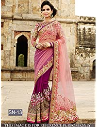 I-Brand Women's Net And Banglori Silk Embroidered Saree With Blouse Piece - IFBSUNSA1967, Purple, Free Size