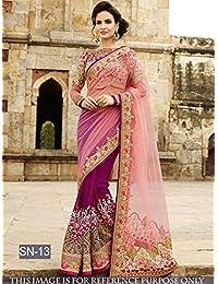 Sunshine Fashion Women's Net Saree With Blouse Piece (Sunsa1967,Purple,Free Size)