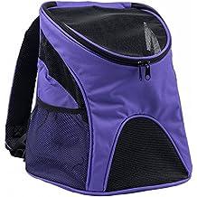 Pettom Mochila del Perro con Malla para Cachorro Lados Suaves Mochila al Aire Libre del Viaje para Mascotas del Peso Hasta 3 kg, Color Púrpura, Tamaño S: 23*29*34 cm