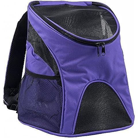 Pettom Mochila del Perro con Malla para Cachorro Lados Suaves Mochila al Aire Libre del Viaje para Mascotas del Peso Hasta 3 kg, Color Púrpura, Tamaño S: 23*29*34