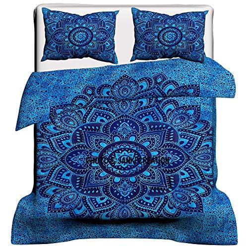 Exclusiva funda de edredón india con diseño de mandala ombra y teñido, colcha bohemia, ropa de cama de mandala, colcha hippie hippy, Doona 228,6 x 218,6 cm, tapiz de reina