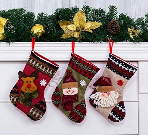 Oileus 3pz calza di natale / calzini da babbo natale sacchetto di caramelle / confezione regalo / forniture di ornamenti appesi per decorazione dell'albero di natale a casa (piccole dimensioni)