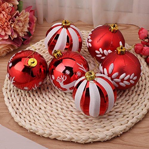 Uncles 6pcs 8cm set di palle di Natale, feste di Natale, compleanno, infrangibili, decorazione da appendere, decorazione per la casa casa appartamento dormitorio a soffitto, bianco e rosso