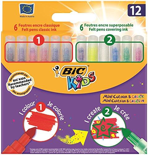 BIC Kids Zauberstifte Mini Colour & Create – Auswaschbare Filzstifte mit Zauber-Effekten - Malen & Übermalen – 6 Malstifte & 6 Übermalstifte