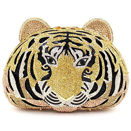Santimon Donna Pochette Borsa Tigre Borse Lusso Strass Borse Da Festa di Nozze Sera Con Tracolla Amovibile E Pacco Regalo 4 Colori oro01