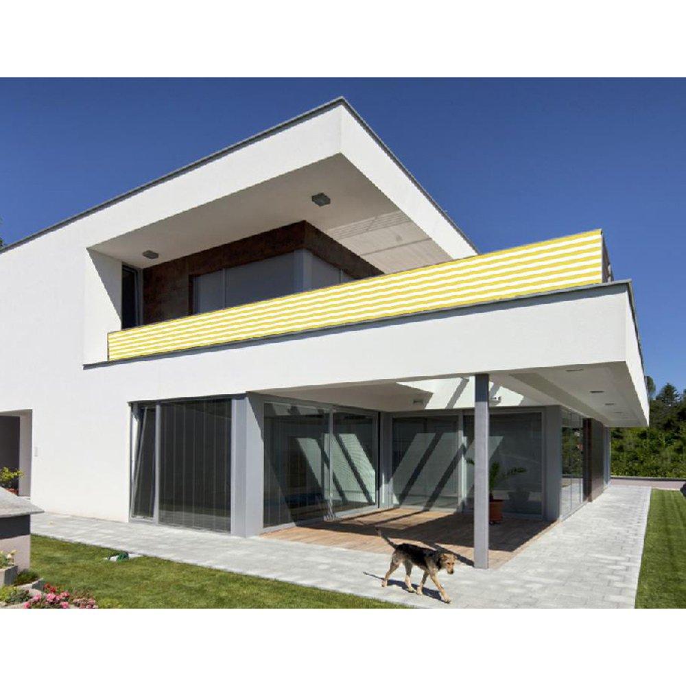 Balkon Sichtschutz Gelb Weiß 500x90 Balkonsichtschutz