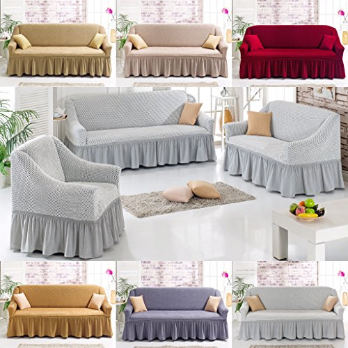 Hussen für Sofas: Stretch 2 Sitzer Bezug, 2 Sitzer Husse aus Baumwolle & Polyester von My Palace