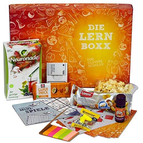 Lern-Boxx (13 Teile) - hochwertige Geschenk-Box für Schüler zur Lernmotivation | mit vielen Lernhilfen, gesunden Snacks, Neuronade & Co. | Das ultimative Geschenke-Set für Schulkinder | für Einschulung, Klassenarbeiten & Abitur
