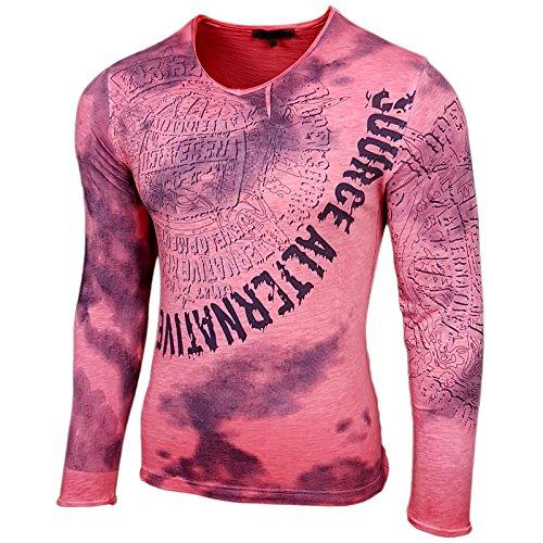 Rusty Neal Herren Longsleeve T-Shirt Langarmshirt Hemd Langarm Sweatshirt 10135 Coralle