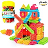 NEEDOON 100pcs Bristle Blocks Set Toddlers Educational Buliding Creative Toys with a Bucket for Boys Girls