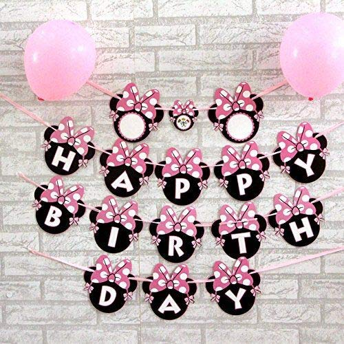 PartySanthe Minnie Mouse and Mickey Mouse Happy Birthday Banner Pink n Black/ Birthday Theme/Party Suppiles