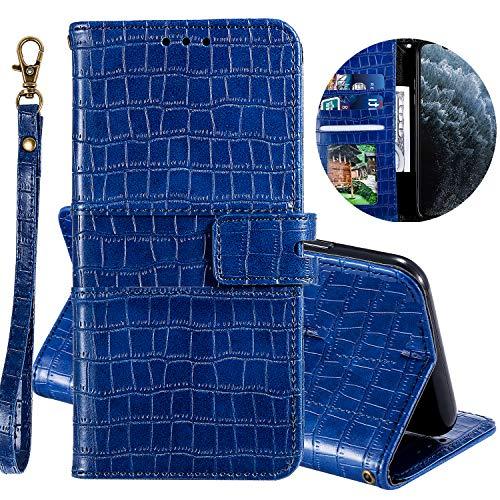 Miagon Krokodil Flip Hülle für Huawei P30,Stilvoll PU Leder Wallet Tasche mit Standfunktion Magnetisch Brieftasche Bookstyle Schutzhülle,Blau