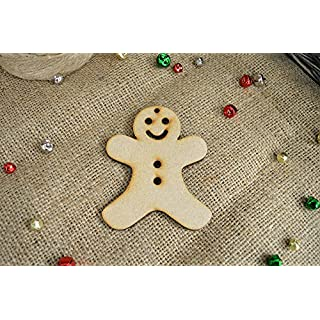 20 pack 40mm 'Hanging Gingerbread Man Christmas Shape' Craft Shape, Craft Embellishments, Made from Medite Premier MDF