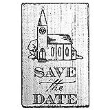 Vintage Stempel Save the Date mit Kirche - Stempel zur individuellen Gestaltung von Save the Date - Karten