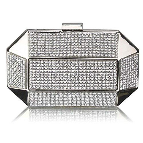L And S Handbags Rhinestone Studded Hard Box Bridal Clutch Bag, Poschette giorno donna Silver