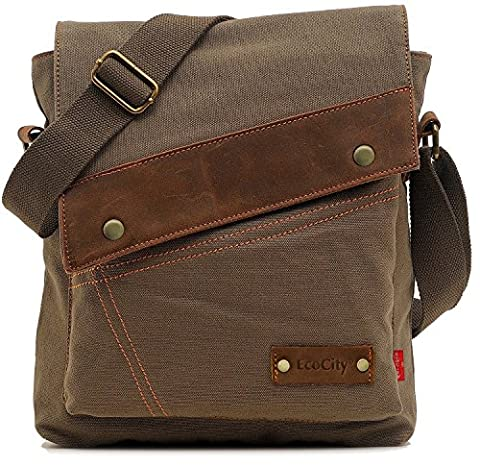 EcoCity Vintage Small Canvas Messenger Shoulder iPad Bags For Men & Women (Army green) MB0002A4