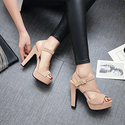 RoseG Femmes Stiletto High Heels Gladiateur Plateau Sandales Jaune