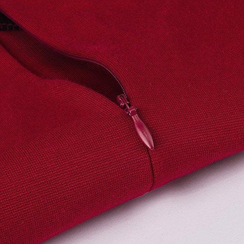 HOMEYEE Frauen elegantes Retro Patchwork beiläufiges Weinlese Abend Abnutzungs Partei Kleid B358(EU 38 = Size M,Rot + Schwarz) - 4