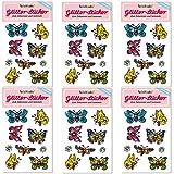 6-teiliges Glitter-Sticker-Set * SCHMETTERLINGE * vom Mauder Verlag | Kinder Aufkleber Kindergeburtstag Geburtstag Mitgebsel Geschenk Mädchen Glitzer Phantasie Magie bunt