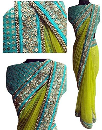 Fliponn Light Green Color Nylon Mono Net Embroidered Party Wear Saree with Heavy Work Blouse Piece-FNI151SENX-91
